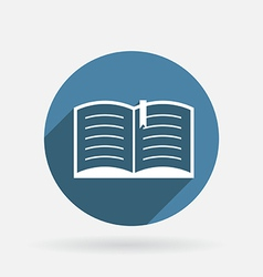 Open book Circle blue icon with shadow vector