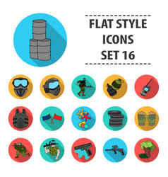 paintball set icons in flat style big collection vector image