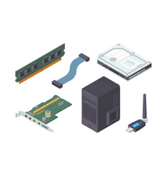 Parts personal computer isometric set modern vector