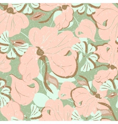 Pink flowers seamless retro vector image