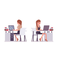 pretty female office employee sitting at desk vector image