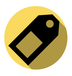 price tag sign flat black icon with flat vector image