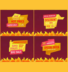 price tags set best discount advertisements vector image