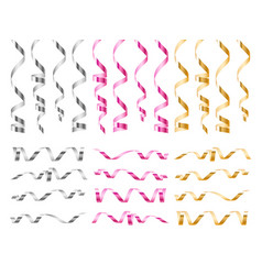 realistic serpentine ribbons bright golden pink vector image