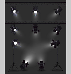 realistic spotlights dark set vector image