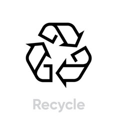 recycle symbol icon editable line vector image