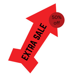 red extra sale sticker in the form of an arrow vector image