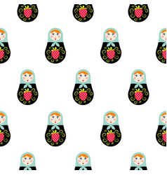 Russian doll matryoshka seamless pattern vector