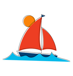Sailboat on waves with line art elements vector