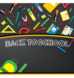 School supplies on blackboard vector image