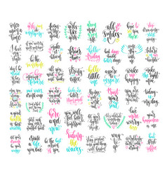 Set 50 hand lettering positive quote vector