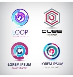 Set abstract colorful loop logos circle vector