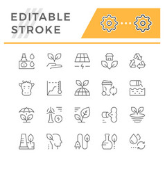 Set line icons ecology vector