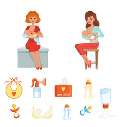 set of colorful items related to breastfeeding vector image