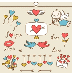 Set of Valentines cute doodles and design elements vector image