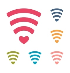 Set of wireless network symbol with hearts for vector image
