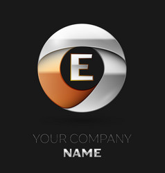 silver letter e logo symbol in the circle shape vector image