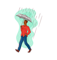 Sketch african man walking rain umbrella vector
