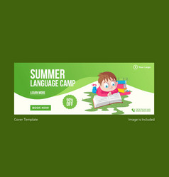 Summer language camp cover page vector