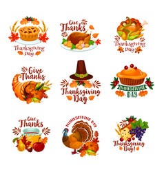 Thanksgiving day autumn holiday icons vector