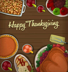 Top down thanksgiving dish banner template vector