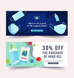 Twitter ad design with watercolor painting vector