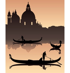 Venetian gondola silhouette vector