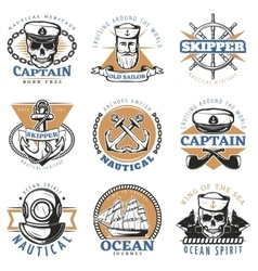 Vintage Sailor Logo Set vector image
