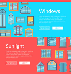 window flat icons horizontal banners vector image