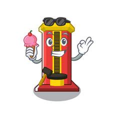 With ice cream hammer game machine in cartoon vector