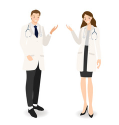 young happy doctors couple cartoon flat style vector image