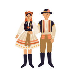 Young people in czech national clothing couple vector