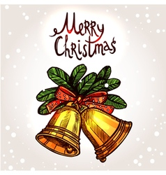 Christmas Card With Hand Drawn Golden Bells vector image vector image