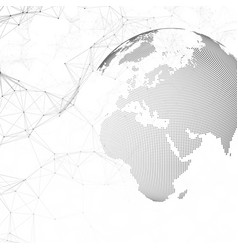 dotted world globe with chemistry pattern vector image