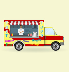 Food truck with a cook inside fast-food sailing vector