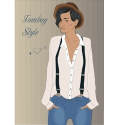 Girl in the style of tomboy vector