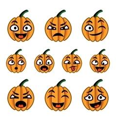 Halloween cute cartoon pumpkins icon set vector image vector image