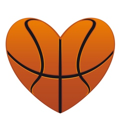 Realistic basketball heart vector image vector image