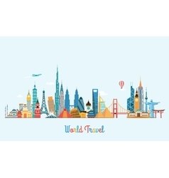 World skyline Travel and tourism background vector image vector image