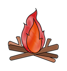 bonfire fire icon image vector image