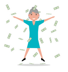 cartoon grandmother jumping falling money vector image vector image