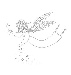 cute fairy with magic wand antistress coloring vector image