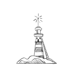 doodle lighthouse vector image
