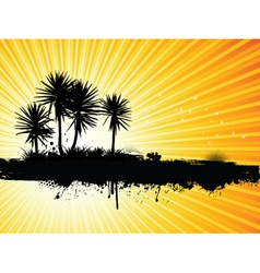 grunge palm tree vector image vector image
