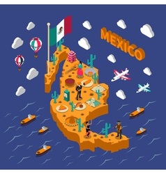 Mexican Touristic Attractions Symbols Isometric vector image vector image
