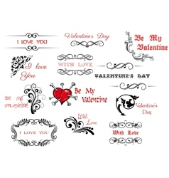 Valentines Day scripts and decorations vector image vector image