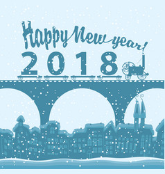 Winter landscape with words happy new year 2018 vector