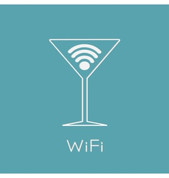 Martini glass with Wireless Network wifi icon insi vector image
