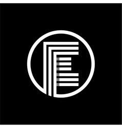 E capital letter of three white stripes enclosed vector image