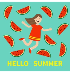 Hello summer greeting card Girl jumping Happy vector image vector image